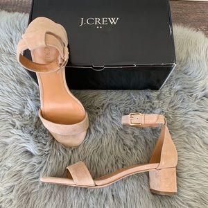 J. Crew Suede Block Heel Sandals Ashen Khaki H7237
